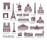 Fototapeta Paryż - Architectural and historical sights of Paris. Set of high quality icons