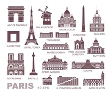 Architectural And Historical Sights Of Paris. Set Of High Quality Icons