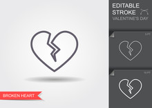 Broken Heart. Line Icon With Editable Stroke With Shadow