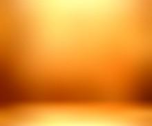 Bright Orange Empty Room. Yellow Blurred Wall Texture. Golden Defocused Interior 3D Illustration. Amber Room Design.