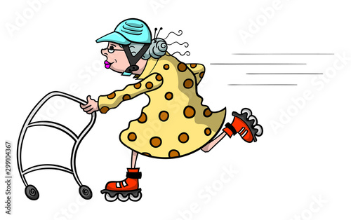 Cartoon illustration of an old lady speeding along with her walker and a set of Wallpaper Mural