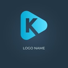 """Letter """"K"""" Logo With Triangle Shape On Isolated Background. Vector Image"""