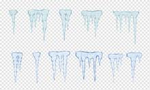 Set Of Translucent Light Blue Icicles