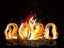 Fire New 2020 Year Banner, Vector Illustration