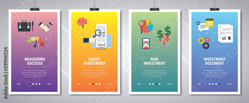 Cuadros en Lienzo Internet banner set with investment, success and risk.