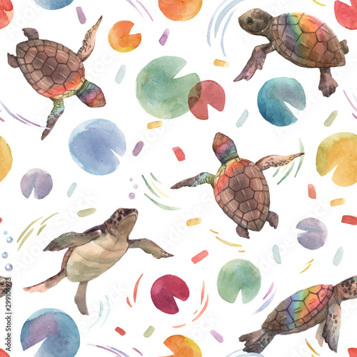 Obraz na plátně Watercolor vector rainbow small baby turtles colourful seamless pattern