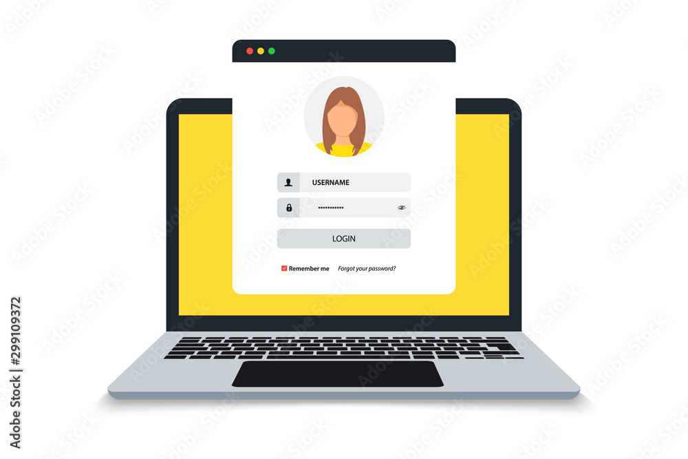 Fototapeta Laptop with login and password form page on screen, registration page. Sign in page, user authorization. Login authentication concept on laptop screen. Notebook and online login form. User profile