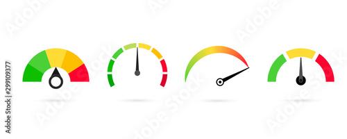 Rating Customer satisfaction meter, speedometer Wallpaper Mural