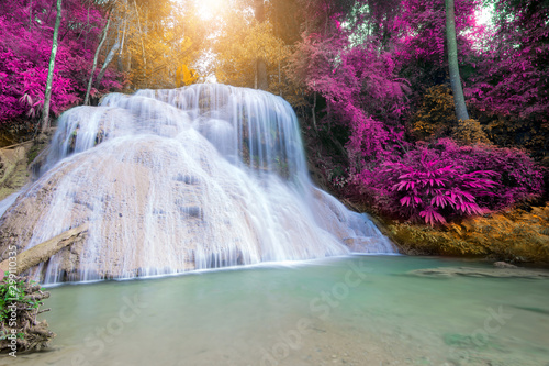 Garden Poster Forest river Amazing waterfall at colorful autumn forest