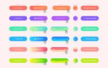 Set Of Modern And Trendy Button States On Dark Background