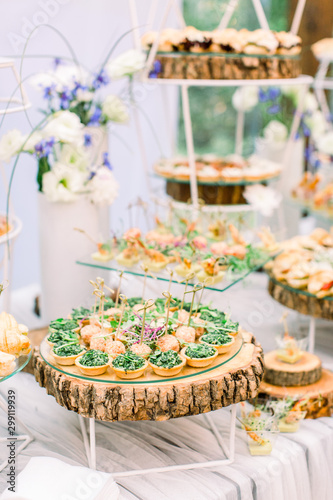 Canvas Print Delicious canapes as event wedding dish