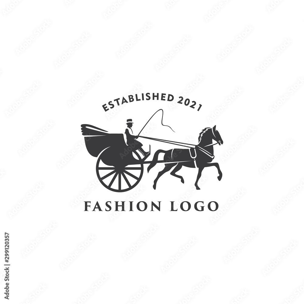 Fototapety, obrazy: illustration Horse cart Drawn classic retro logo design template