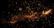 canvas print picture Golden confetti bokeh lights on the black background. 3d illustration