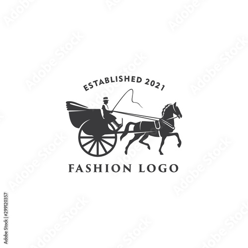 Carta da parati illustration Horse cart Drawn classic retro logo design template