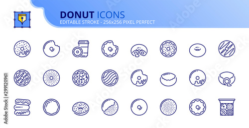 Simple set of outline icons about sweets donuts. Bakery products Wallpaper Mural