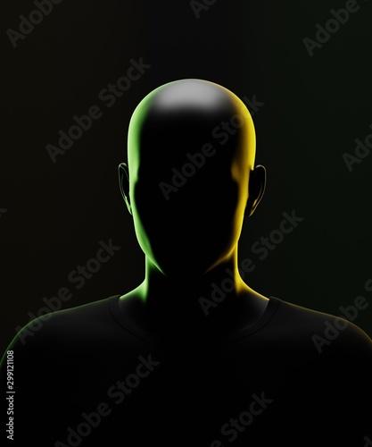 Dark nonymous portrait. 3d render Tablou Canvas