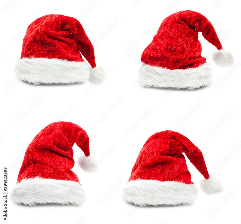 Fototapety, obrazy: Red santa hat isolated on white background