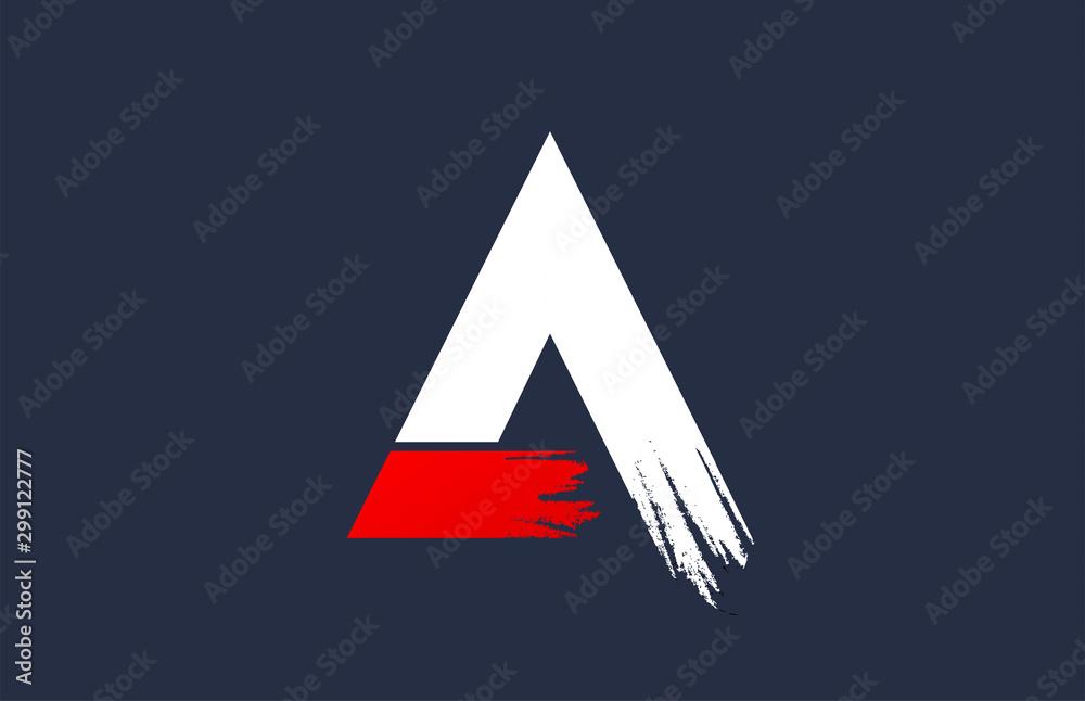 Fototapeta A white red blue alphabet letter with grunge brush ending for company logo icon design