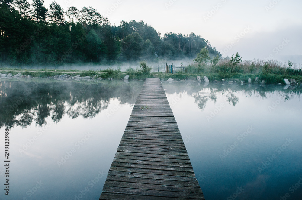 Fototapety, obrazy: Fog, grass, trees against the backdrop of lakes and nature. Fishing background. Carp fishing. Misty morning. nature. Wild areas. bridge over the river.