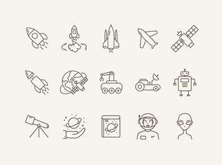 Space technology icon set