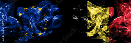 Fotografía  Eu, European union vs Belgium, Belgian smoke flags placed side by side