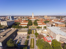 University Of Texas At Austin Aerial View Including UT Tower And Main Building In Campus, Austin, Texas, USA.