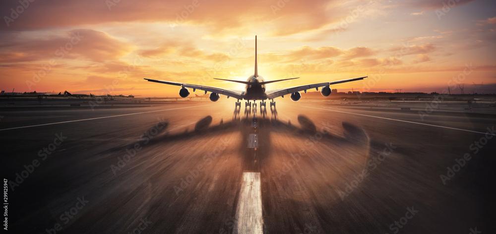 Fototapety, obrazy: Huge two storeys commercial jetliner taking off