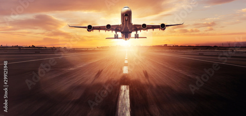 Huge two storeys commercial jetliner taking off Wallpaper Mural