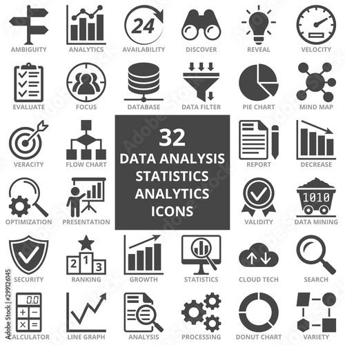 Photo Data analysis, statistics, analytics web icon set