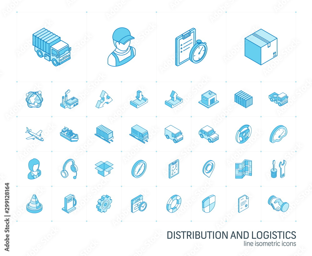 Fototapety, obrazy: Isometric line icon set. 3d vector colorful illustration with Logistic, delivery business, distribution symbols. Service, export, shipping, transport colorful pictogram Isolated on white