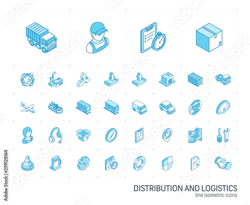 Fotografía  Isometric line icon set