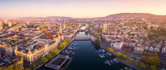 Aerial view of Zurich and River Limmat, Switzerland