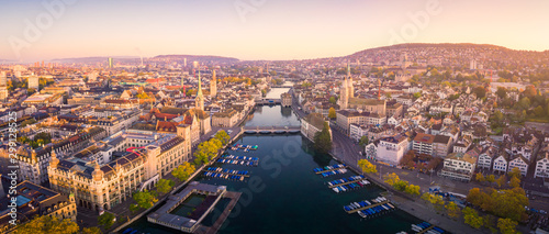 Aerial view of Zurich and River Limmat, Switzerland Canvas Print