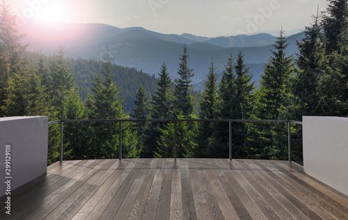 Foto auf Leinwand Landschaft Balcony view of mountains. Landscape. Sunny Day. Terrace with a beautiful view. Background with beautiful landscape.