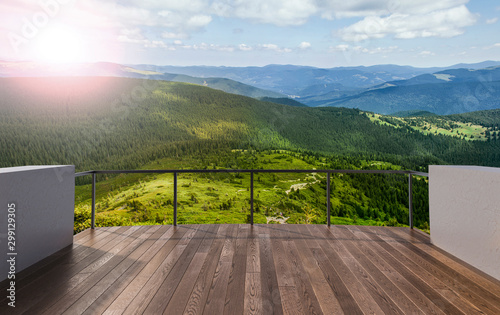 Montage in der Fensternische Cappuccino Balcony view of mountains. Landscape. Sunny Day. Terrace with a beautiful view. Background with beautiful landscape.