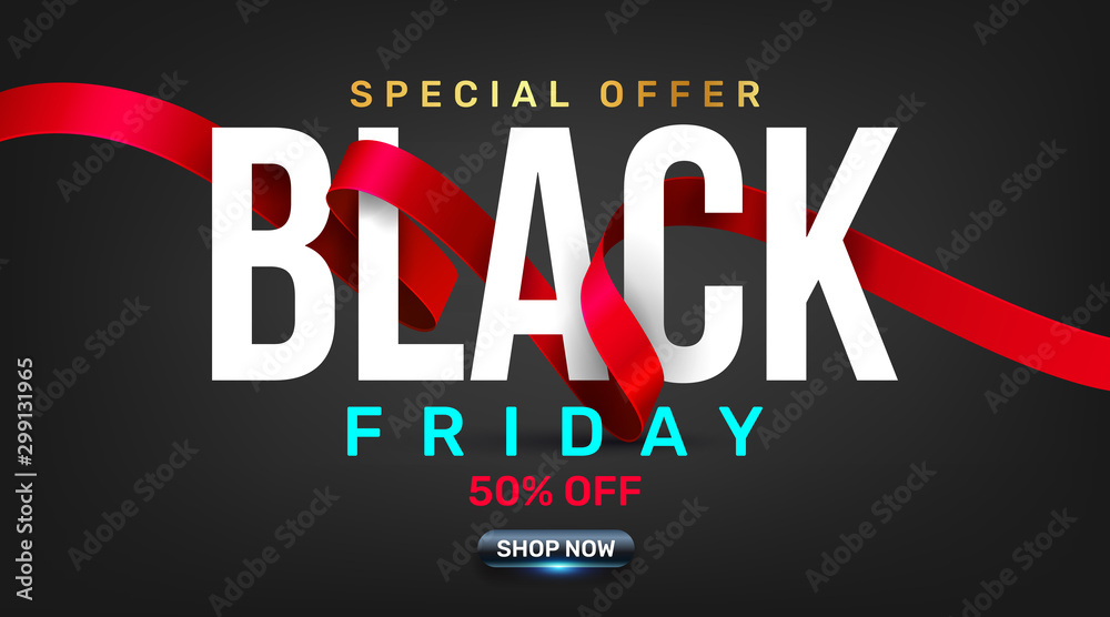 Fototapeta Black Friday Sale Promotion Poster or banner with red ribbon concept.Special offer 50% off sale in black color style.Promotion and shopping template for Black Friday.Vector illustration eps 10