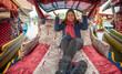 Traveller woman riding on Shikara boat at Kashmir, India.
