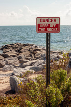 Danger Keep Off Rocks Vertical