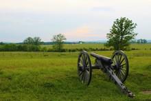 Cannon On The Battlefield In Gettysburg, Pennsylvania.