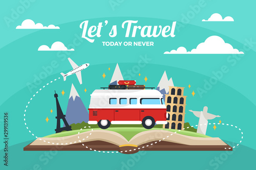 Photo sur Aluminium Vert corail Travel to World. Road trip. Tourism. Open book with landmarks. Travelling vector illustration. The World is Yours! Modern flat design.
