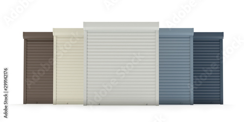 Foto  Window roller collection isolated on white v2, 3d illustration