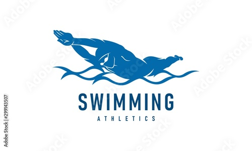 Photo Man swimming competition, swimming pool logo vector