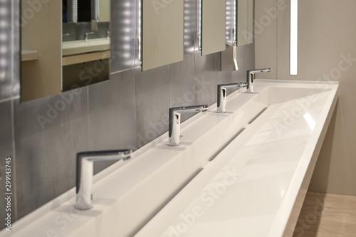 Fotografie, Tablou commercial bathroom, sink in a public toilet.