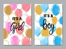 Baby Shower Card With Balloons Vector Set. Watercolor Invitation Cards Design For Baby Shower Party - Girl And Boy