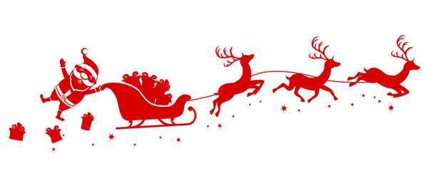 Silhouette of Santa holding one hand on a sleigh with reindeer and waving on a white. Christmas, new year
