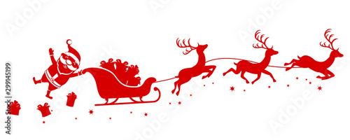 Silhouette of Santa holding one hand on a sleigh with reindeer and waving on a white. Christmas, new year - 299145199