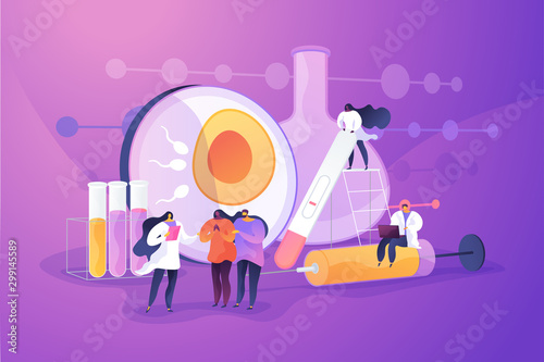 Doctor working on infertility treatment for couple. Negative pregnancy test. Infertility, female infertility causes, sterility medical treatment concept. Vector isolated concept creative illustration - 299145589