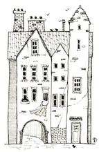Old Historic House With Birds. Hand Drawn Ink Pen Illustration.