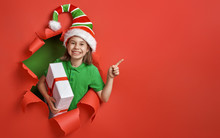 Santa's Elf On Bright Color Background