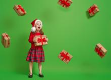 Girl With Christmas Gift.